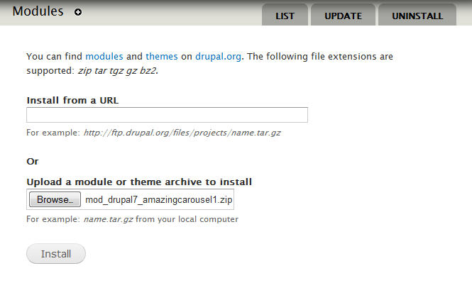 Install Drupal jQuery carousel module